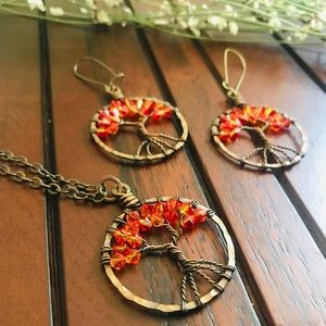 💍Tree of life pendant necklace and earrings
